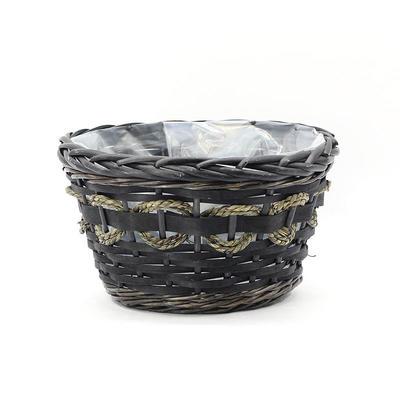 Custom Black Round Wicker Planter