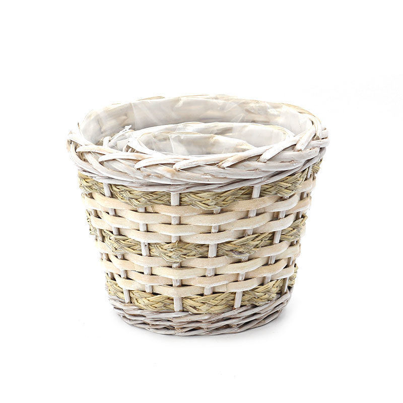 Natural Fresh Round Wicker Planter