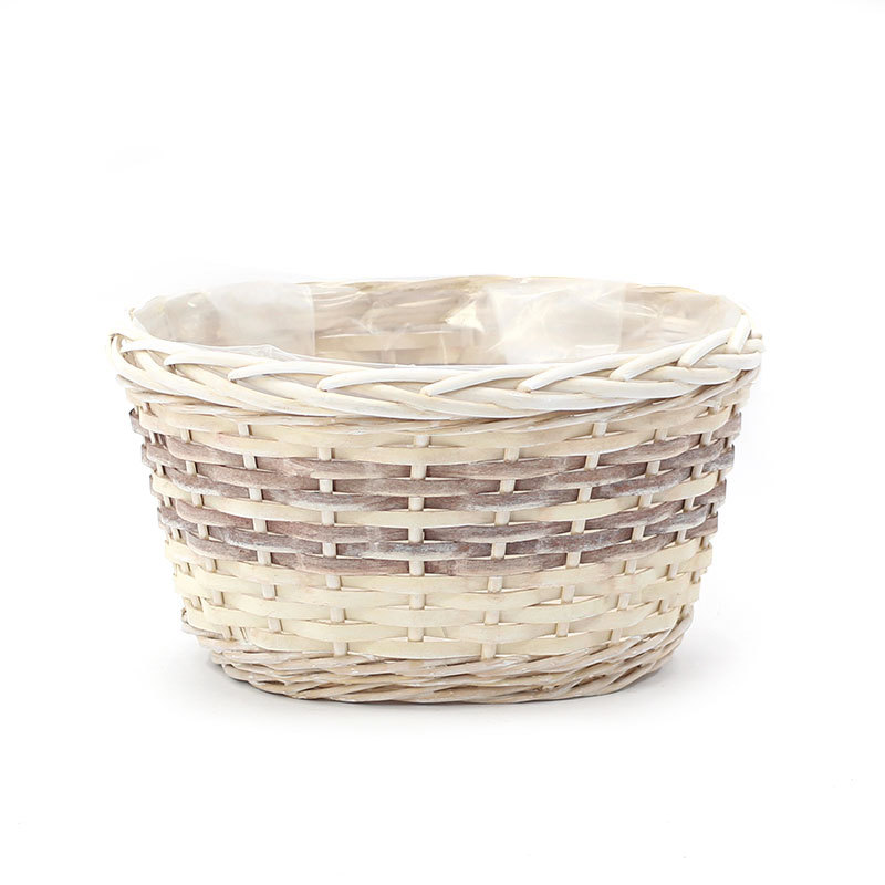 Custom Honey Oval Wicker Plant Pot