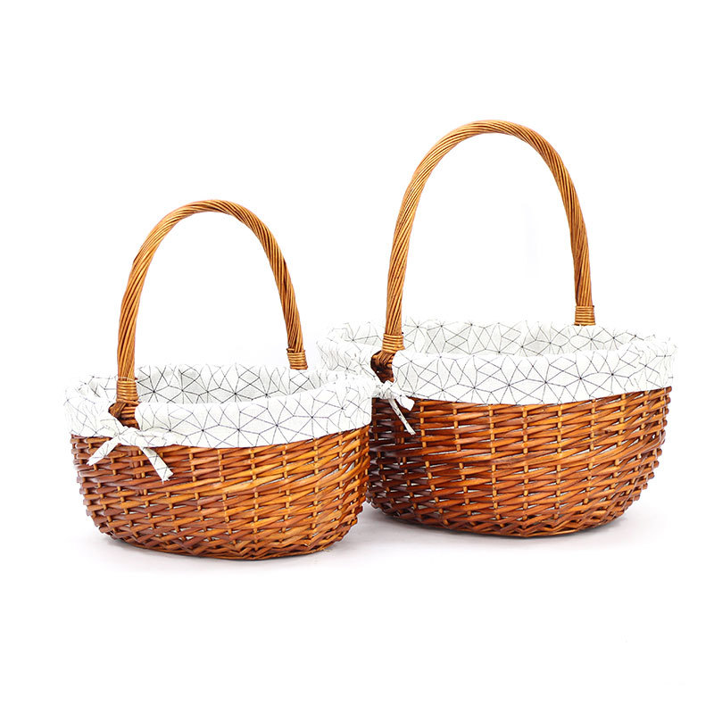 Custom Size Wicker Shopping Basket Lined