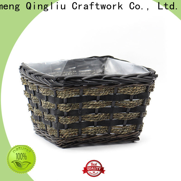 wholesale grey wicker plant pot supply for garden