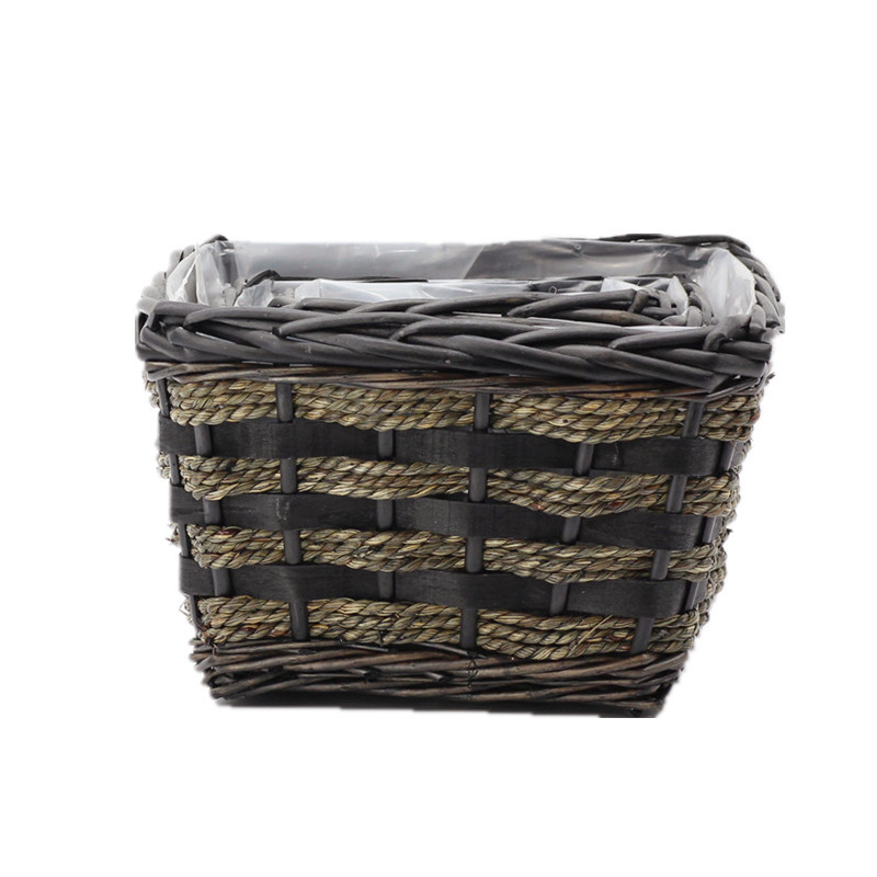 Natural Square Wicker Planter
