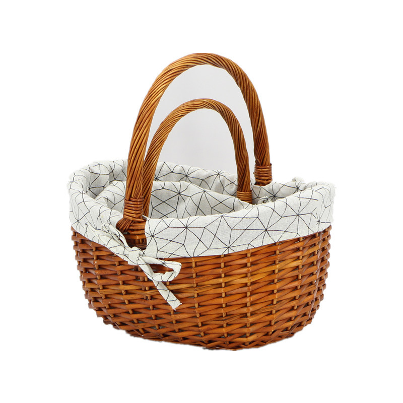 Charming Brown Wicker Shopping Basket