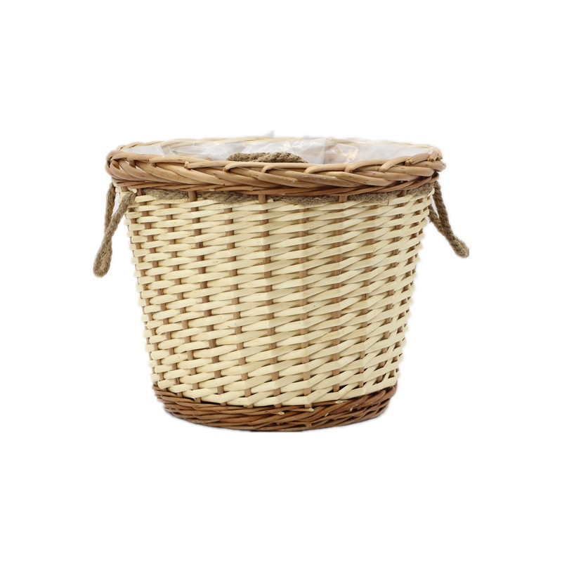 Natural Round Wicker Planter With Rope Handle