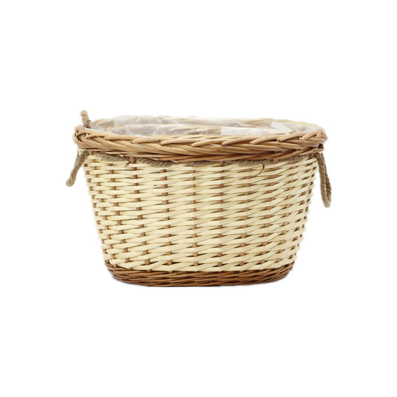 Honey Oval Wicker Planter With Rope Handle
