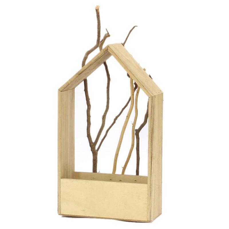 House Shape Wooden Plant Pot
