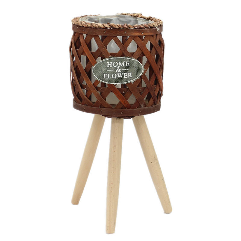 Round Woven Wooden Plant Pot