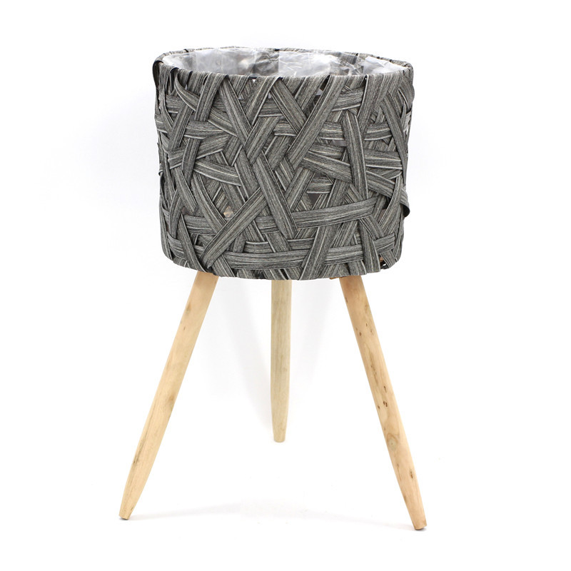 Grey Round Wooden Planter