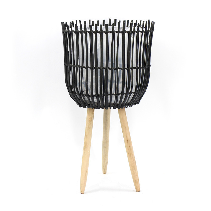 Black Wooden Plant Pot With Tripod Stand