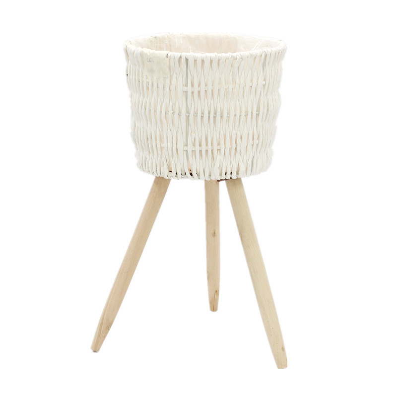 White Round Seagrass Tapered Plant Pots