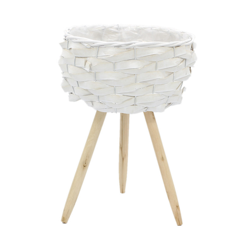Luxury White Round Wooden Plant Pots