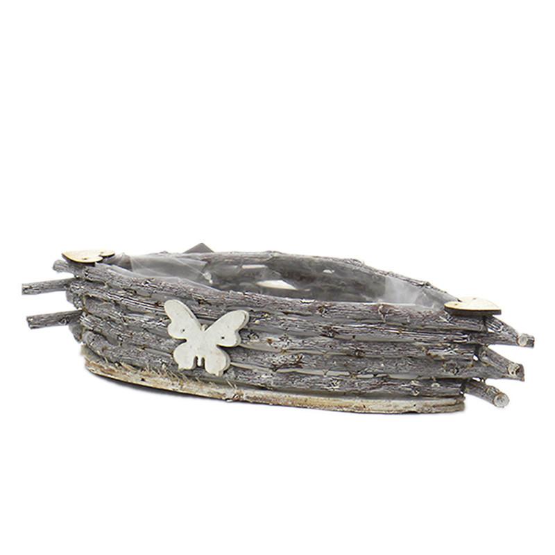 """Boat""Shape Wooden Plant Pot"