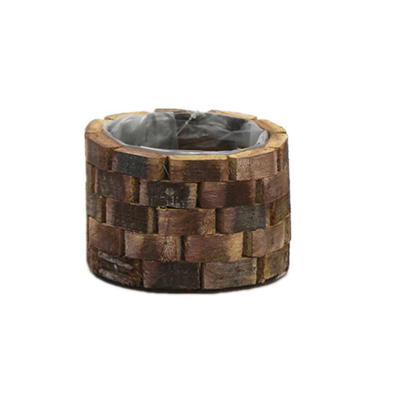 Dark Brown Round Wash Wooden Plant Pot