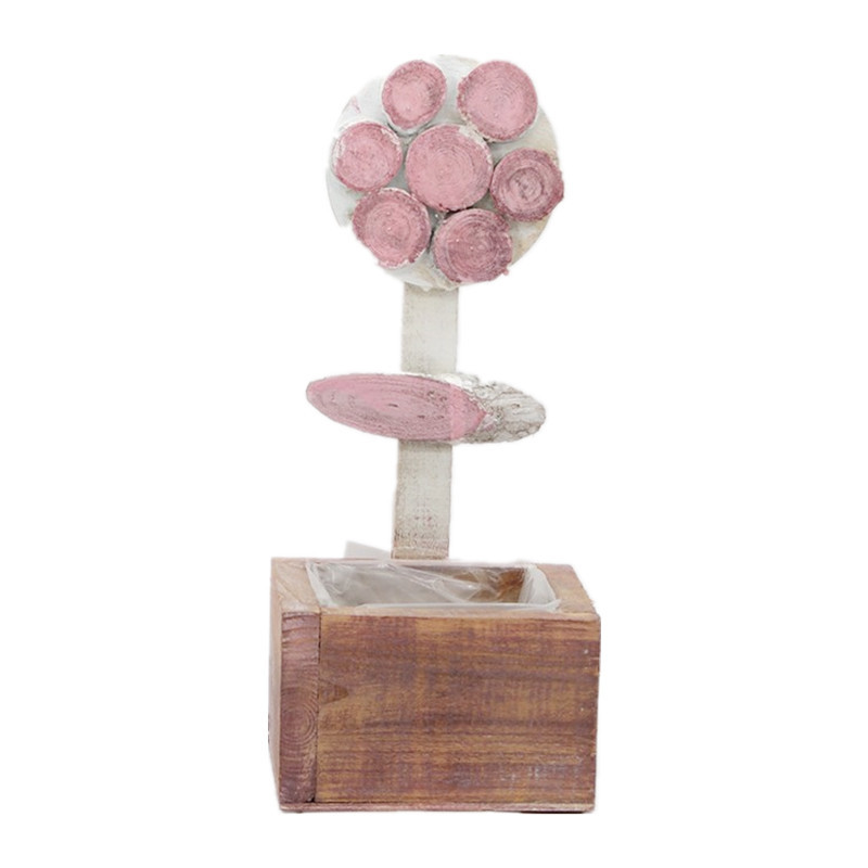 Pink Flower Wooden Plant Pot