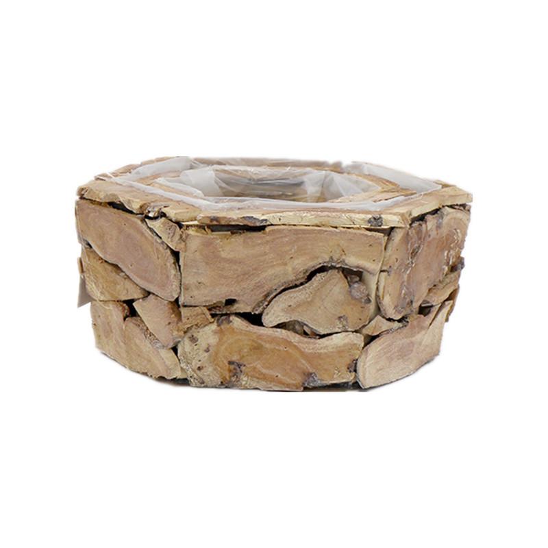 Big Hexagon Wash Wooden Plant Pot