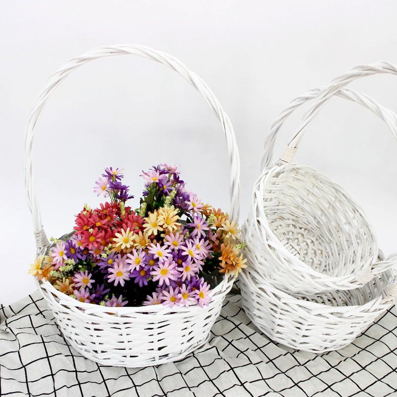 White Wash Wicker Basket
