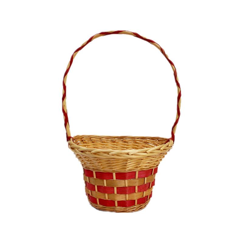 Red Long Handle Wicker Flower Basket