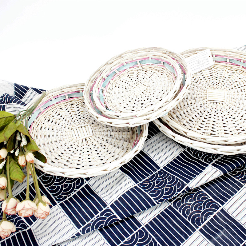 White Round Wicker Basket Tray