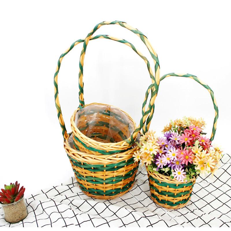 Green Long Handle Wicker Flower Basket