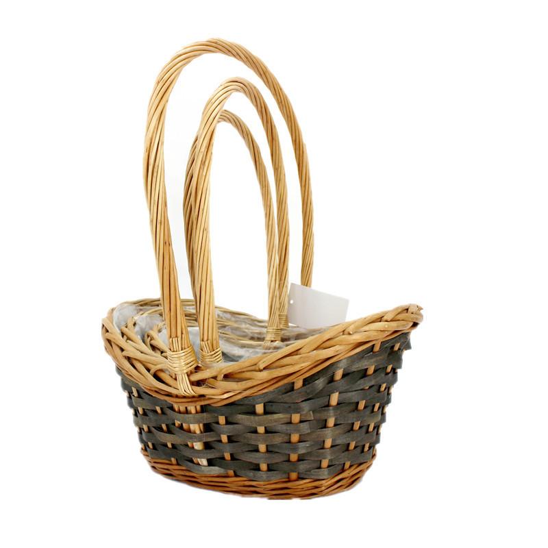 Natural Slope Sided  Wicker Basket