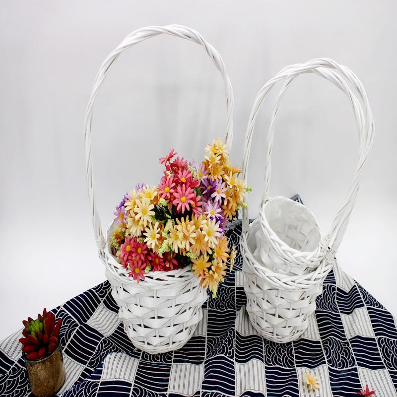 Elegant White Wicker Basket