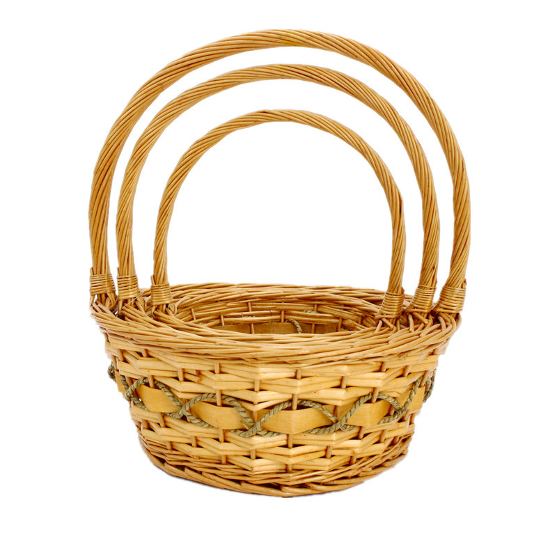 Traditional Round Wicker Display Basket