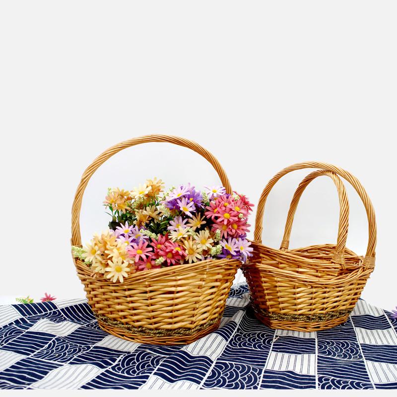 Deluxe Boat Shape Wicker Flower Basket