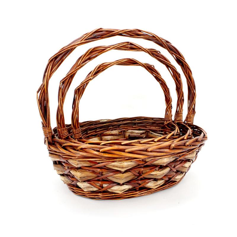 Elegant Brown  Oval  Flower Basket