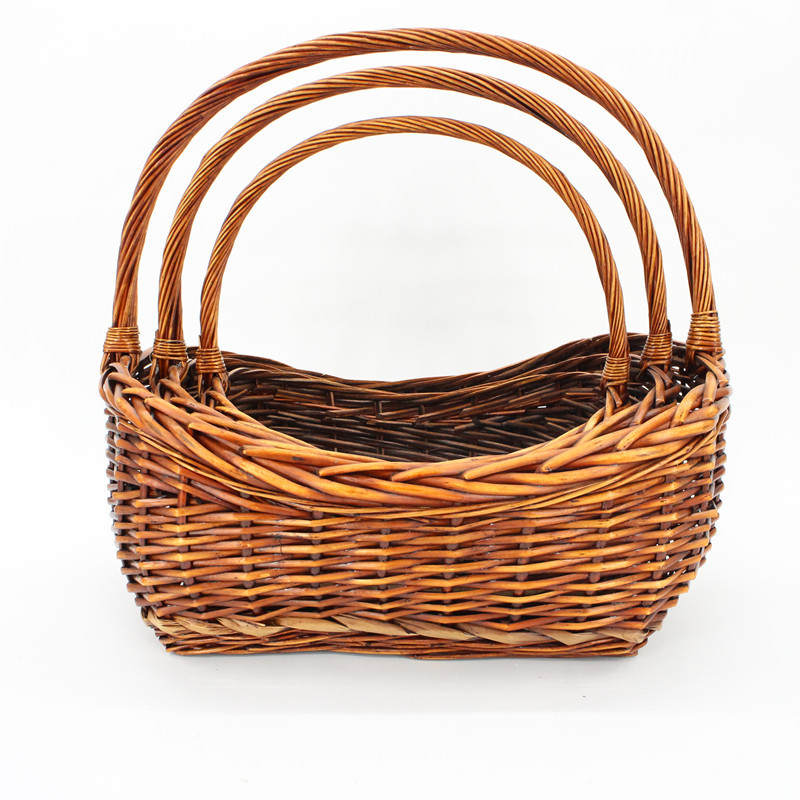 Slope Sides Wicker Display Basket