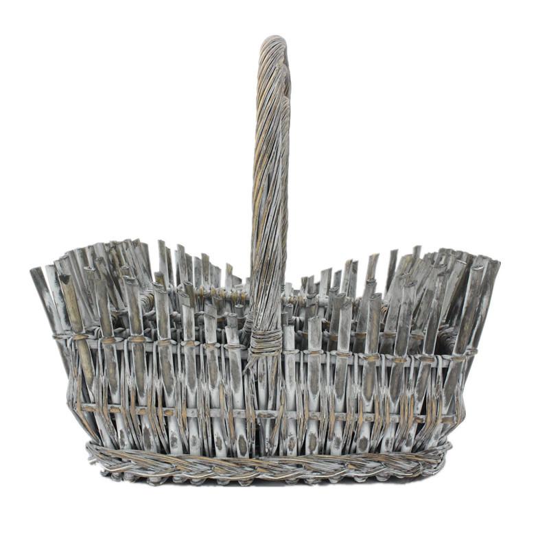 Grey Wicker Rectangle Flower Basket