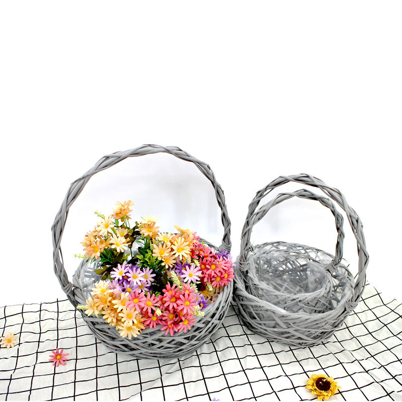 Grey Wicker Round  Display Basket