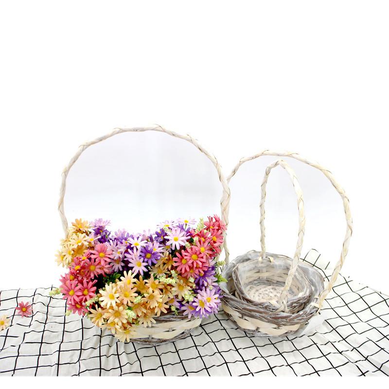 Long Handle Square Wicker Display Basket