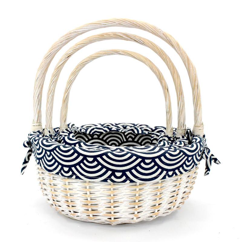 White Oval Wicker Display Basket