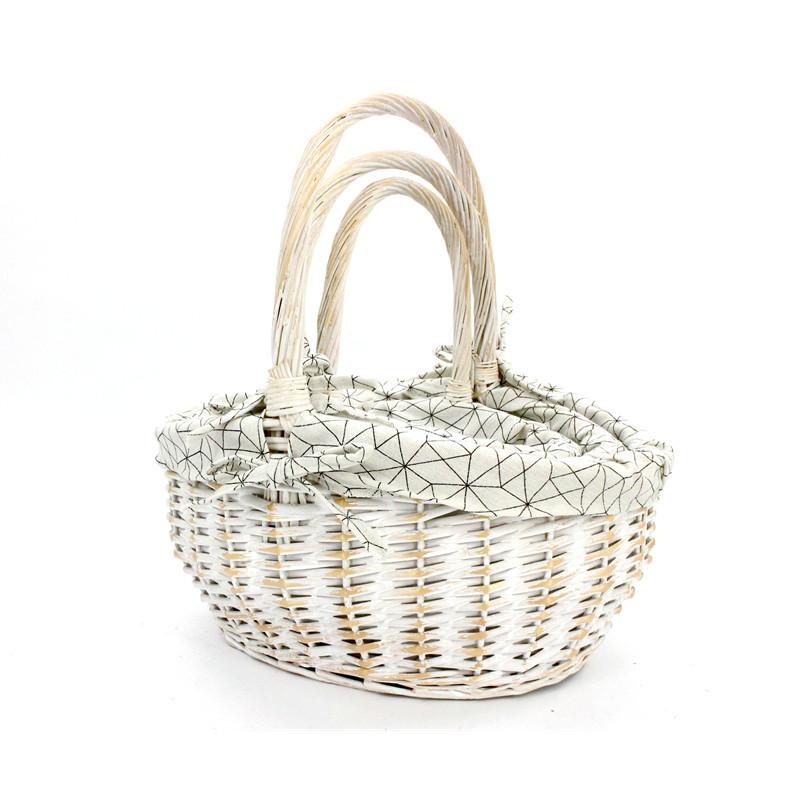 White Wash lined Wicker Basket