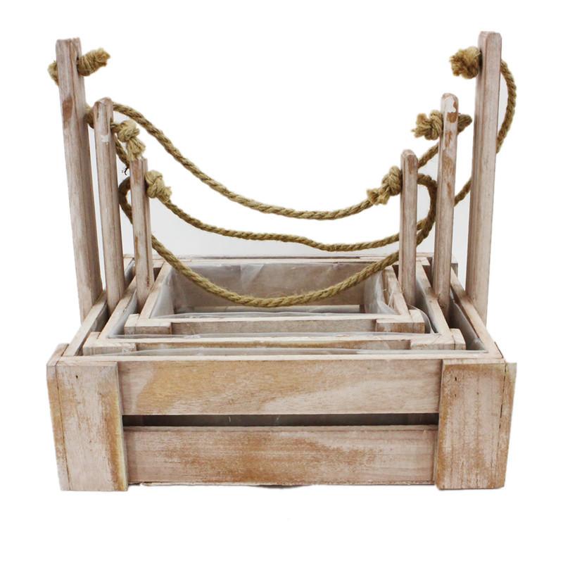 Vintage Wood Rope Handle Plant Pot
