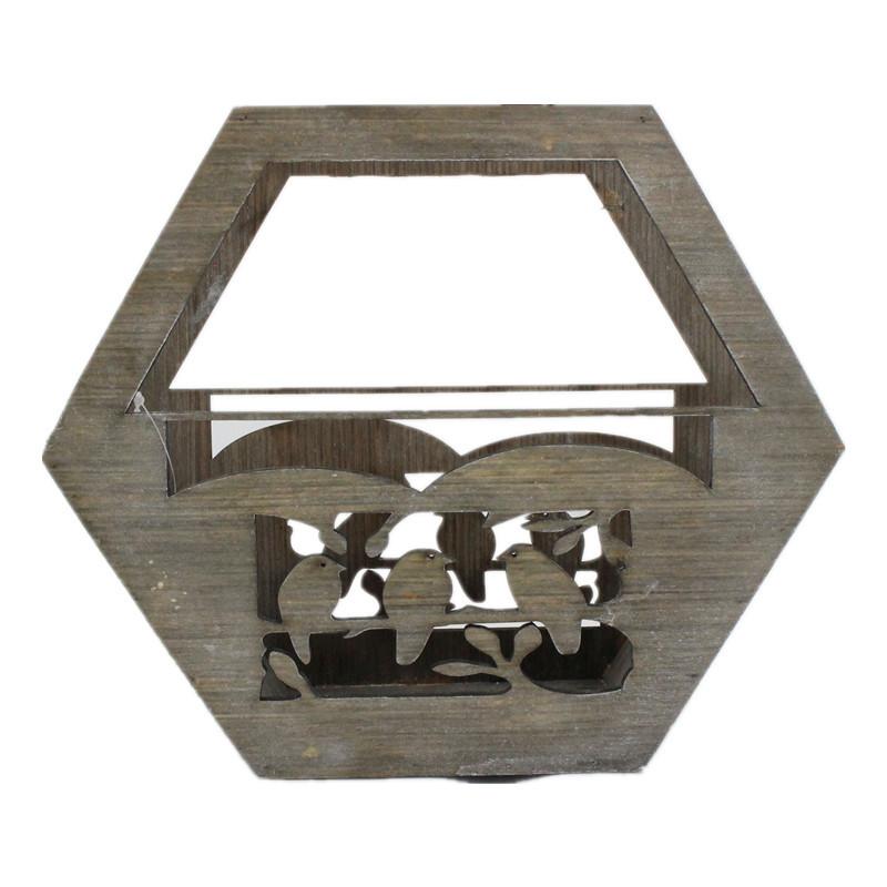 Hexagon Vintage Style Wooden Plant Pot