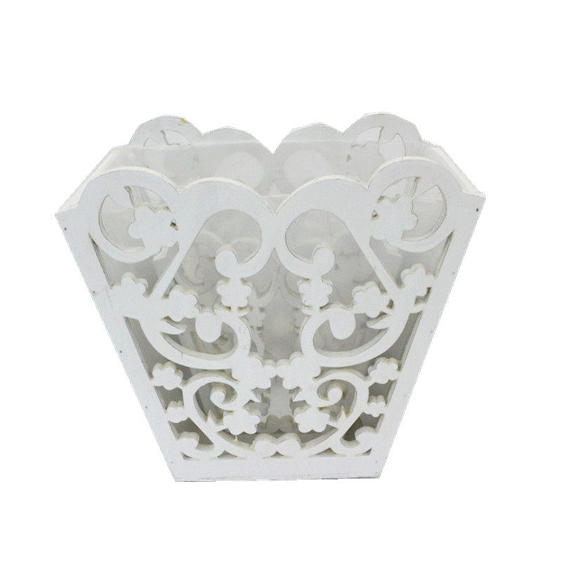 White Carved Wooden Plant Pot