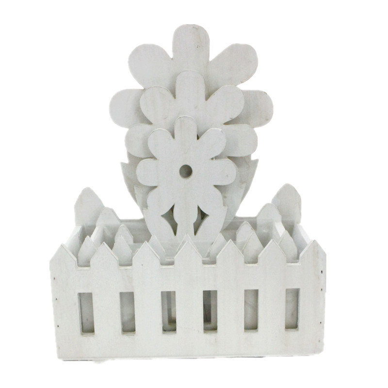 White Modern Style Wood Flower Plant Pot