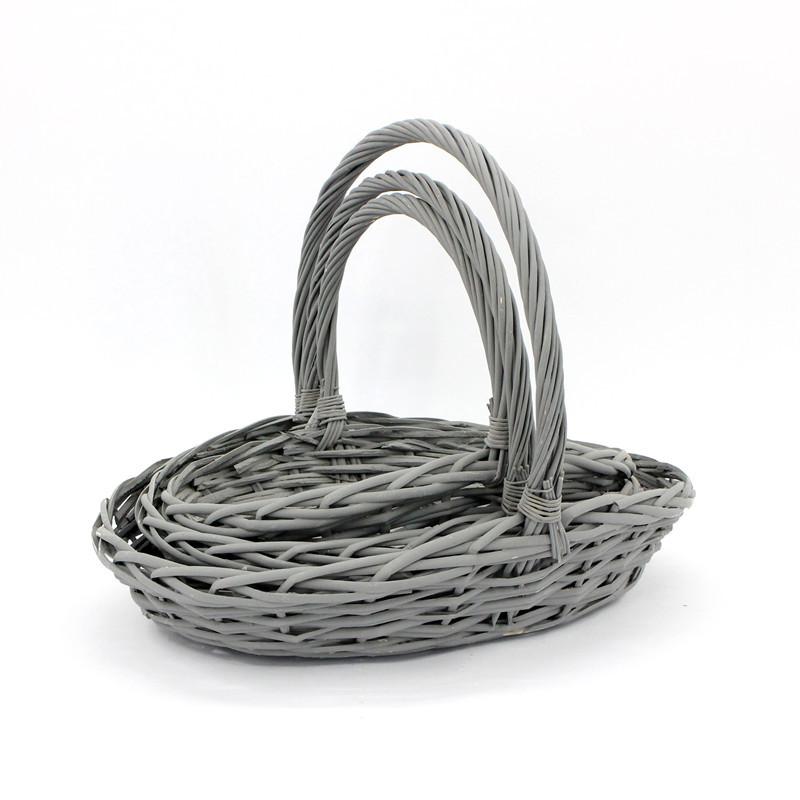 Grey Trug Wicker Basket