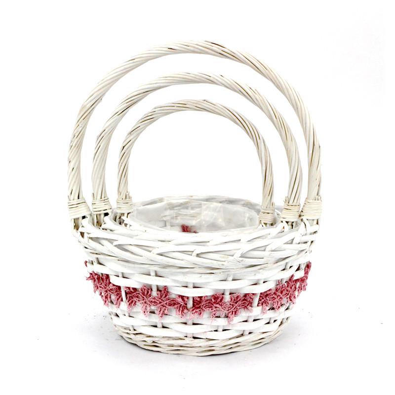 Modern White Round Wicker Basket