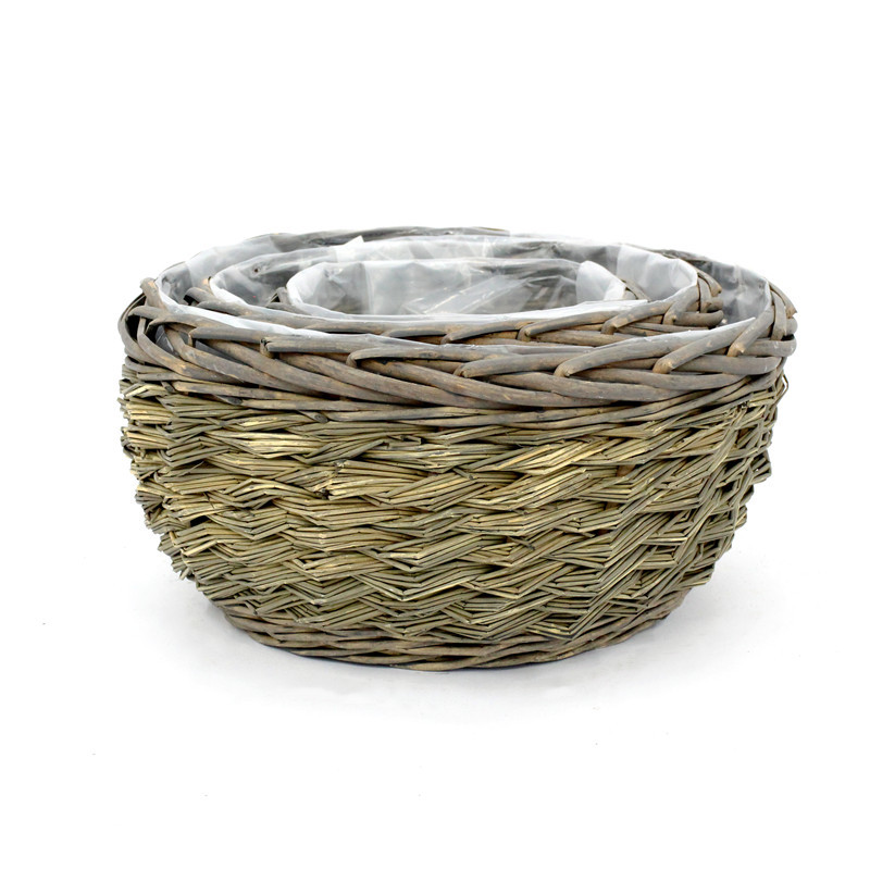 Natural Round Water Hyacinth & Wicker Plant Pot