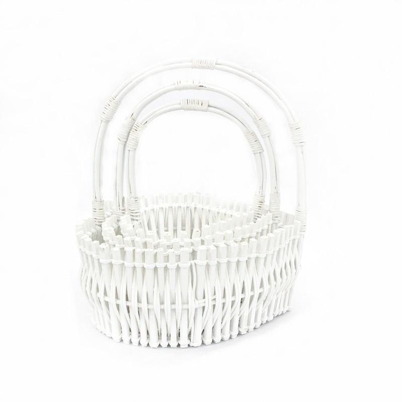 White Heart Shape Wicker Basket