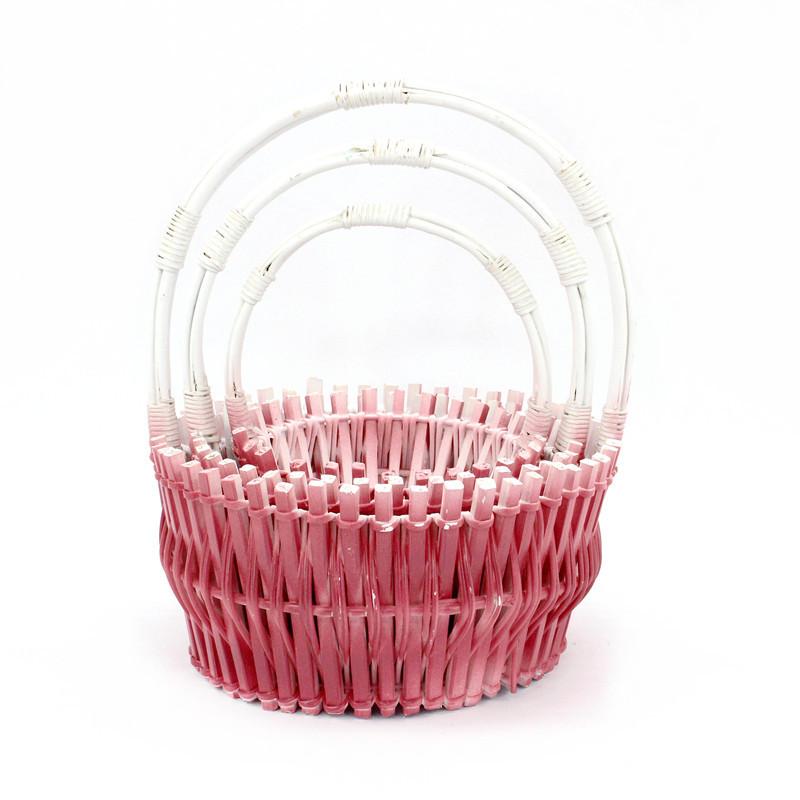 Hot Pink Round Wicker Flower Basket