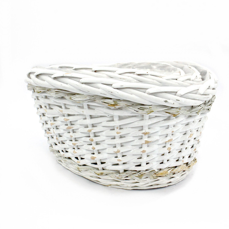 Traditional White Oval Wicker Plant Pot