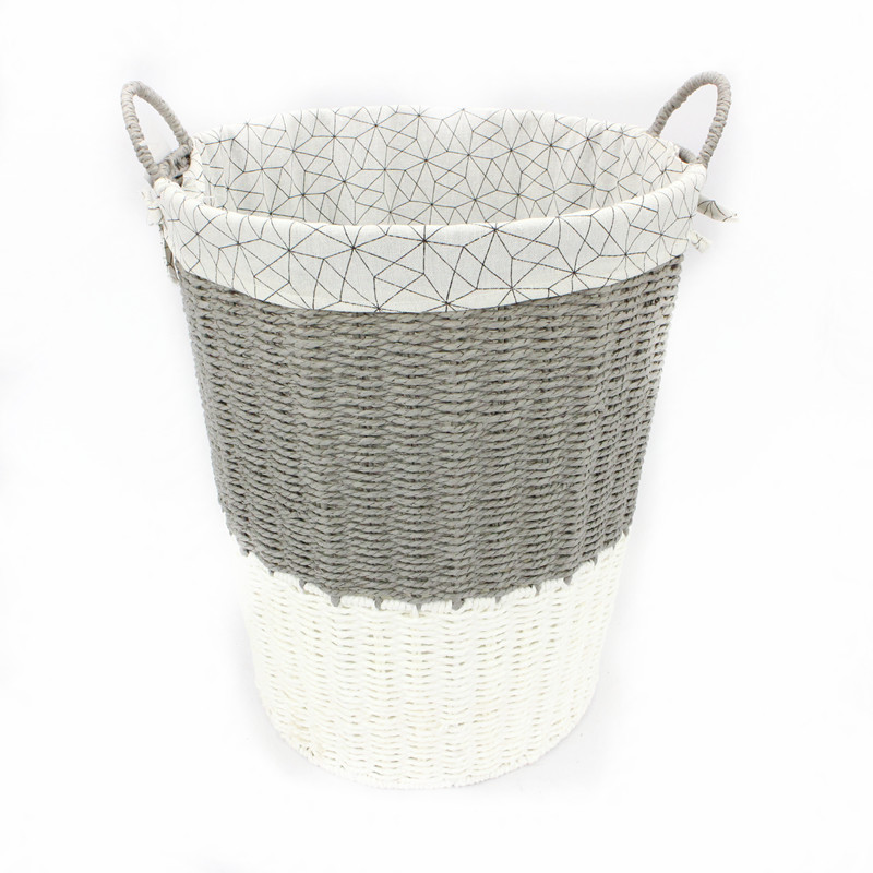 Grey and White Rope Paper Laundry Basket