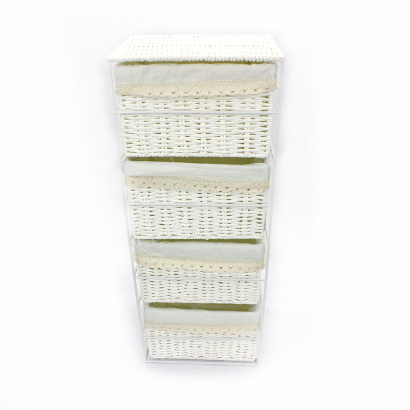 White Storage Rack With 4 Rope Paper Basket